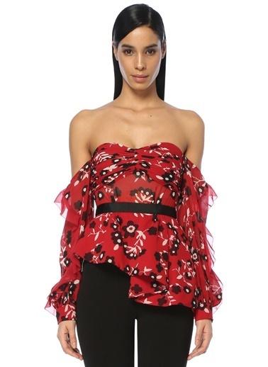 Kayık Yaka Çiçekli Fırfırlı Elbise-Self Portrait